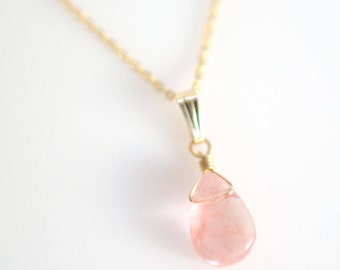 Delicate Gemstone Princess Necklace, Cherry Quartz Gemstone Necklace, Cherry Blossom Necklace