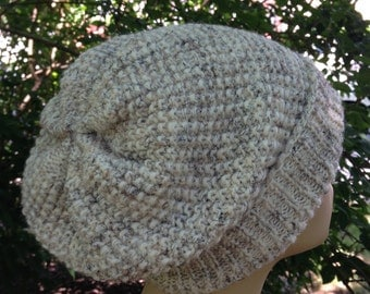 women hat, knit, oatmeal,  wheat, wool blend, RTS, chemo, slouchy hat, teens hat, girls hat, Christmas gift, cream, fall, winter,