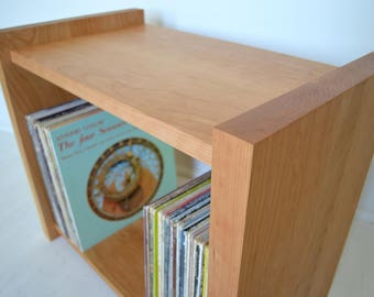 Vinyl LP Record Storage Cabinet | Solid Cherry Media Cabinet  |  Record Player Table | Bookshelf | Sierra Model
