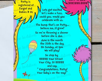 Dr Seuss Baby Shower Invitation ,Truffula Trees, lorax, Cat in the hat, 5x7 ,Printed or Digital Download-FREE SHIPPING