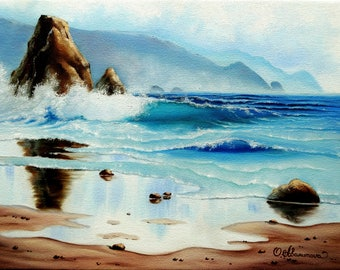Oil Painting Seascape Ocean Sunrise Ocean Wave Sea Wave Ocean Landscape Ocean Art Original Painting On Canvas 12x16 in (30cm x 40cm)