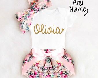 Baby Girl Gift Baby Shower Gift Girl Personalized Baby Girl Outfit Personalized Floral Bloomers Baby Bloomers Baby Girl Clothes 1