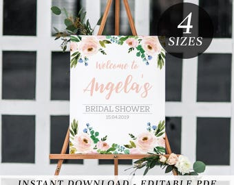 Printable Welcome Sign | Editable Template Welcome Sign | Bridal Shower | Kitchen Tea | Baby Shower | Floral | Instant Download Welcome Sign