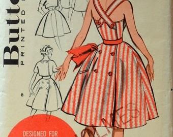 Uncut 1950s Butterick Vintage Sewing Pattern 9372, Size 14; Jr Misses' and Misses' Sun Dress and Jacket
