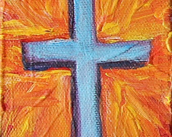 Cross on Orange Burst II, original acrylic painting on canvas, 3 x 4