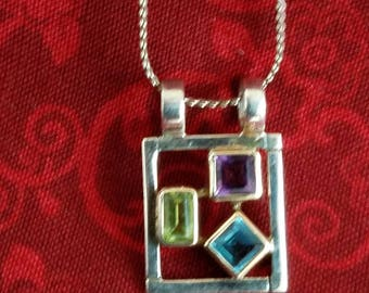 CP106 Vintage Sterling Silver Necklace with Sterling Silver Pendant with Three Multicolor Stones