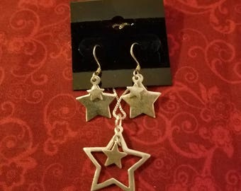CP109 Vintage Sterling Silver Necklace with Sterling Silver Star Pendant and Matching Sterling Silver Star Earrings