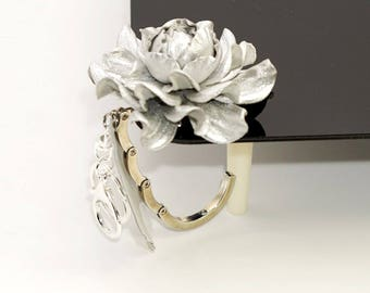 2 in 1 : Tabletop Purse HANGER + Flower BAG CHARM | Real  Metallic Silver Leather Rose Handbag Charm & Folding Table Purse Hook on keychain