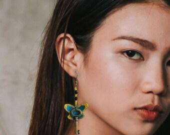 Butterfly wings steampunk key earrings steampunk dangle butterfly wing jewelry butterfly dangle neo victorian steampunk girl romantic key