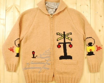 Vintage 1950's/60's COWICHAN Sweater / Railroad Themes / Retro Collectable Rare