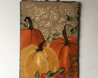 Pumpkins welcome sign, Fall Porch Decor, Country chic pumpkins Slate Door hanger, Fall decorations, Autumn welcome sign, Thanksgiving decor