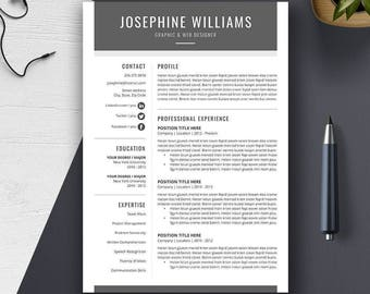 Resume Template, US Letter, A4, CV Template, Cover Letter, Modern, Professional, Creative, Simple Resume Design, Instant Download, JOSEPHINE