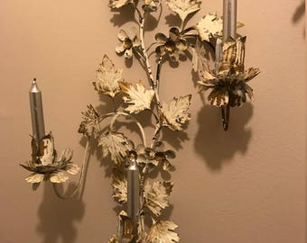 Two Wall Sconces, Vintage, Shabby Chic