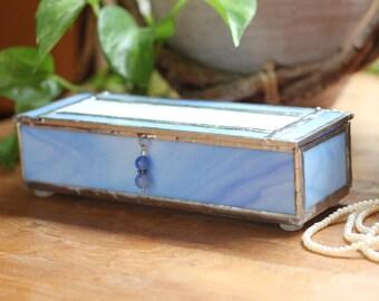 Light Blue and White Glass Box