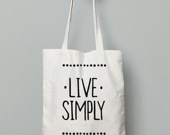 Tote bag canvas, Live simply, Quote tote bag, Yoga bag, printed tote bag, Gift for yogi, Cotton tote bag, Shopping bag, tote bag for books