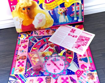 Vintage Barbie Queen Of The Prom Board Game 1991 Mattel Boardgame COMPLETE 90s Original Pink Princess Classic High School Teenager Blonde