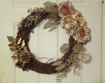 Clearance | Christmas Wreath | Winter Wreath | Christmas Decor | Grapevine | Gold | Glitter | Pine Cones | Roses |