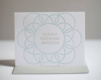 Thanks for being awesome - Letterpress Greeting Card