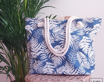 bag Beach, pool, bag bag stamped, ferns, cotton bag, bag with lining and inside pocket with cord handles,