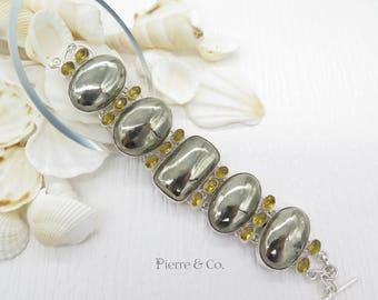Silver Titanium Drusy Citrine Sterling Silver Bracelet