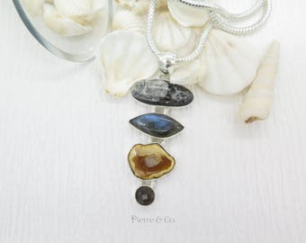 Agate Fossil Labradorite and Smoky Topaz Sterling Silver Pendant and Chain