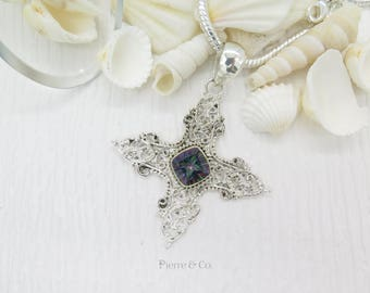 Filigree Cross Mystic Topaz Sterling Silver Pendant and Chain