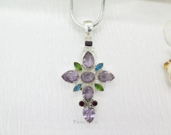 Cross shape Pear Cut Amethyst Peridot Blue Topaz and Garnet Sterling Silver Pendant and Chain