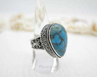 Antique Tibetan Turquoise Sterling Silver Ring (Size 8)