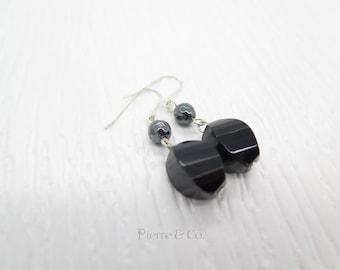 Twisted Black onyx Dangle Sterling silver Earrings