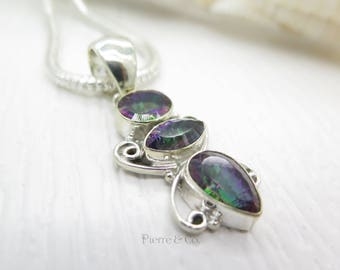 Rainbow color Mystic Topaz Sterling Silver Pendant and Chain