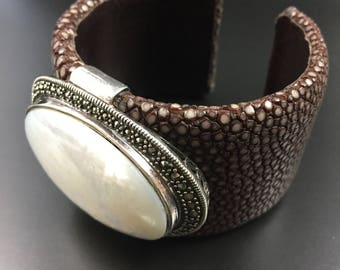 Sting ray brown leather cuff bangle bracelet with sterling, marcasite, and mother of pearl