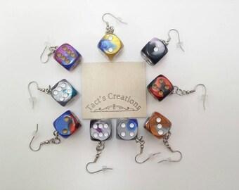 Two Tone Dice Earrings - Board Game Jewelry, Dice Jewelry, For the Geeky, Nerdy, or Board Game Geek in you!