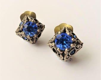 Vintage Cobalt Blue Rhinestone Clip On Earrings, Small Stud Clip Ons, Diamond Shape Earrings, Silver Tone Filigree Earrings, Classic Earring