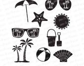 Beach SVG - Vacation SVG - Beach DXF - Summer Svg Files - Sunglasses    Cricut Files - Silhouette - Sea Shells
