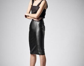 Leather Skirt, BDSM, Faux Leather Skirt, Fetish Clothing, Pencil Skirt, High Waisted Skirt, Midi Skirt, Plus Size Skirt, Leather Clothing