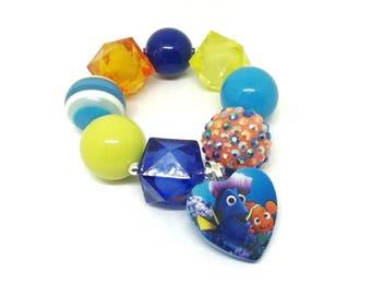 Finding Dory and Nemo chunky bubblegum bracelet - Girls Dory stretch bracelet