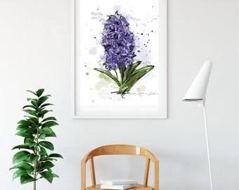 Displays purple hyacinth / Mauve / spring flowers / Illustrations, wall decor, modern art / watercolor Style