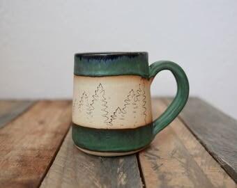 Forest mug; slab mug, handmade, handbuilt, coffee cup, tea cup, coffee mug, pottery, ceramic