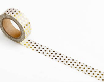 Washi Tape with Foiled Dots - Masking Tape with Gold Foil for Crafts, Scrapbooking, Wrapping, Greeting Cards, Journaling