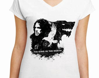 The King In The North - Game of Thrones Shirt - Jon Snow Shirt - House Stark Shirt - Season 7 - GOT Shirt - Women's V-Neck White Shirt