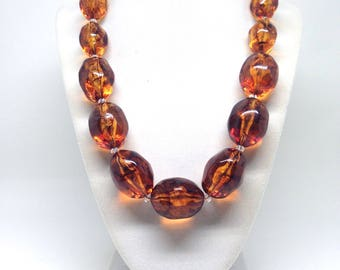 Joan Rivers Chunky Rootbeer Lucite Chunky Statement Necklace