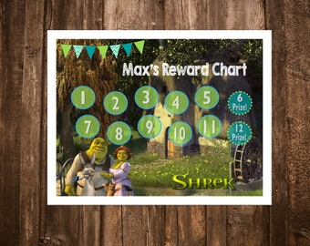 Shrek Themed Reward Chart - Digital PDF Files - or Minnie, Mickey, Frozen, Paw Patrol, Princesses, and more!