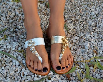 Luxury sandals, Crystal sandals, Wedding sandals, Greek Leather Slides, Many Colors ''Alina''