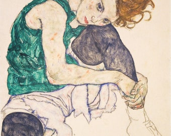 Legs Drawn Up Adele Herms by Egon Schiele -  - Poster A3 or A4 Matt, Glossy or Art Canvas Paper
