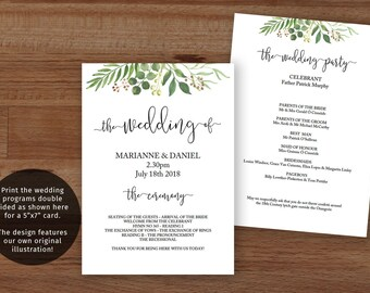 Greenery Wedding Program Template, Printable Greenery Wedding Program, Garden Wedding Ceremony Template, Rustic Greenery Wedding Fan Program