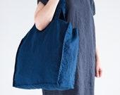 Linen Tote Bag - Natural Linen Tote Bag - Organic Bag - Linen Shopping Bag - Blue Linen Shoulder Bag - Linen Beach Bag - Large Tote Bag
