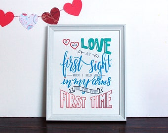 Hand Lettering Calligraphy Print - Love At First Sight - PDF instant download