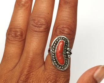 Coral Branch Native Sterling Ring Size 7