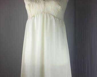 Leading Lady Womens Slip Vintage Full Lace Ivory Mid Calf Adjustable Strap Small