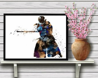 Kendo Practicing Person, Japanese Martial Art, Watercolor Poster, Room Decor, Wall Hanging, Culture, gift, Print (05)